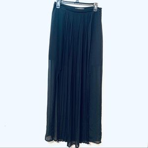 👻Black Maxi Skirt Chiffon Layer Sheer Cute Medium